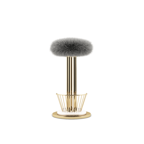 Andy Mid-Century Modern Bar Stool in grey sheepskin