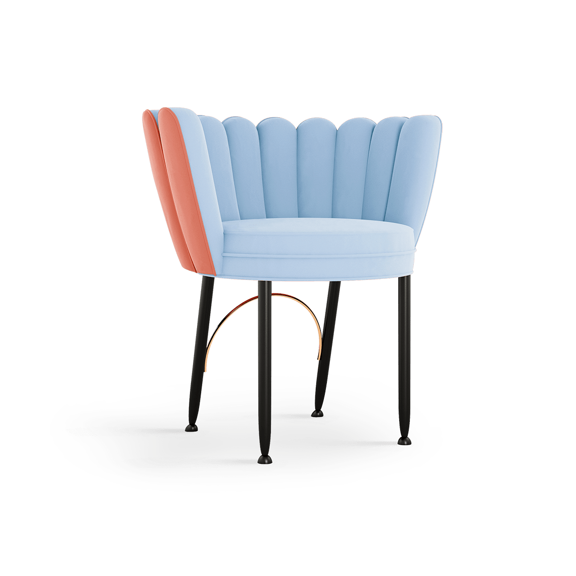 Angel Mid-Century Dining Chair in blue and coral cotton velvet