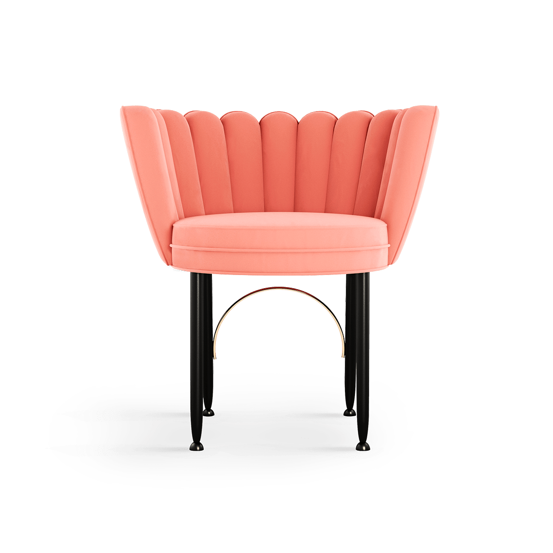 Angel Mid-Century Dining Chair in coral cotton velvet