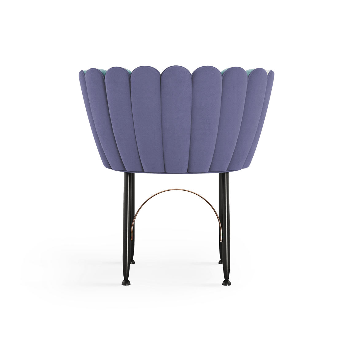 Angel Mid-Century Dining Chair in purple cotton velvet