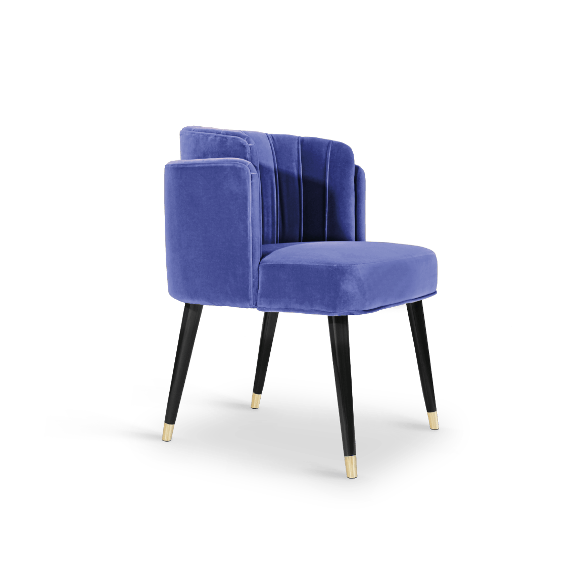 Anita Dining Chair in Blue Cotton Velvet
