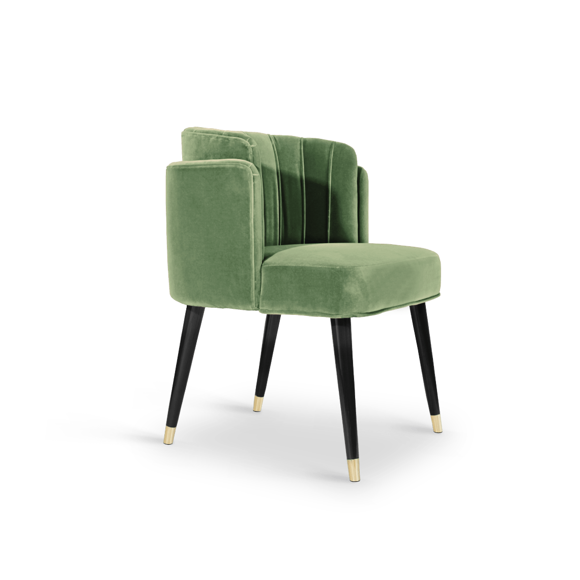 Anita Dining Chair in Green Cotton Velvet