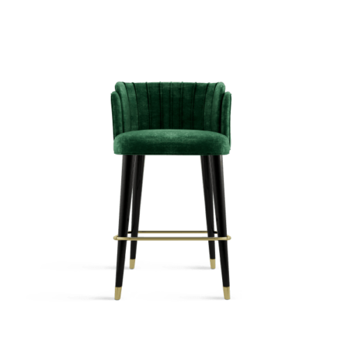 Anita Mid-Century Modern Bar Chair in green velvet