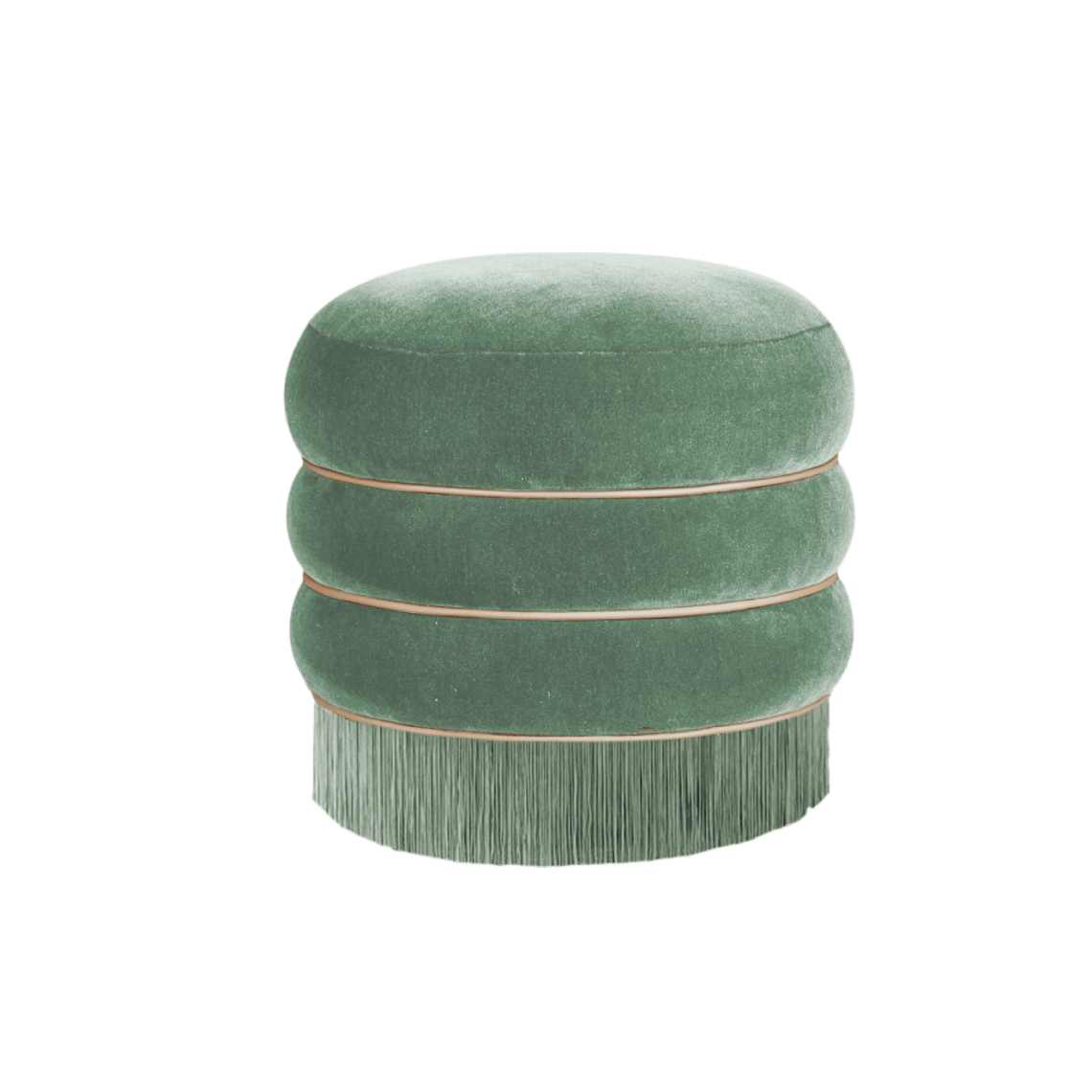 Audrey Mid-Century Modern Stool in green velvet with fringes