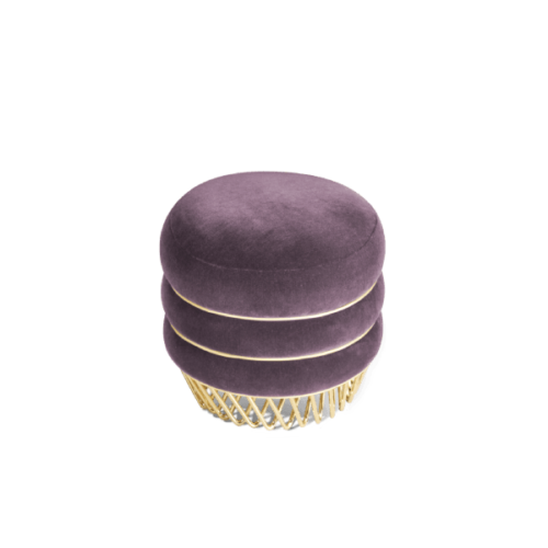 Audrey Mid-Century Modern Stool in purple velvet