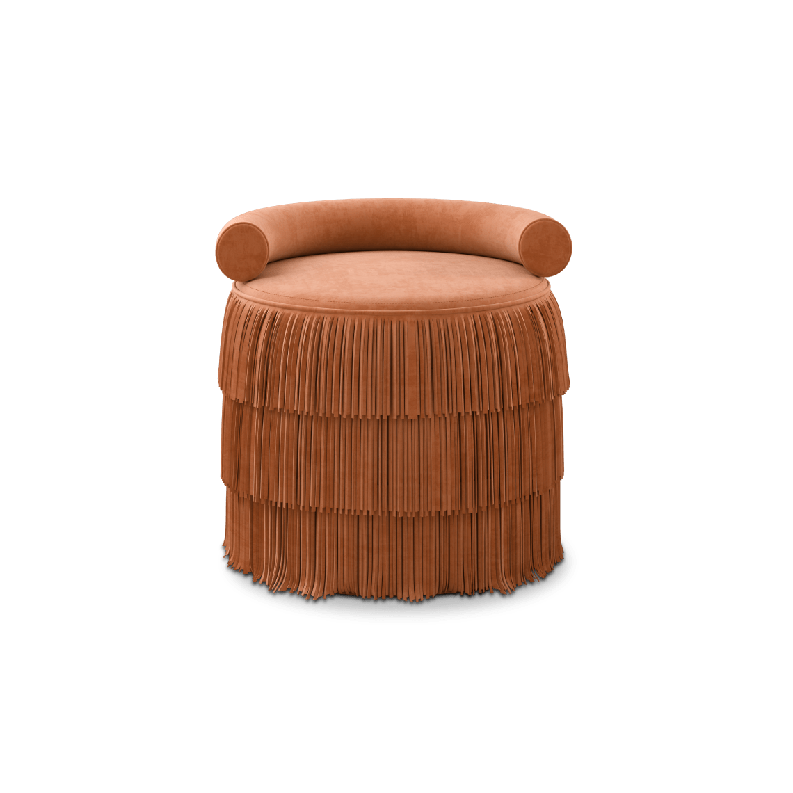 Orange Beth Fringes Stool