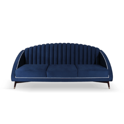 Carole Mid-Century Modern Sofa in blue cotton velvet