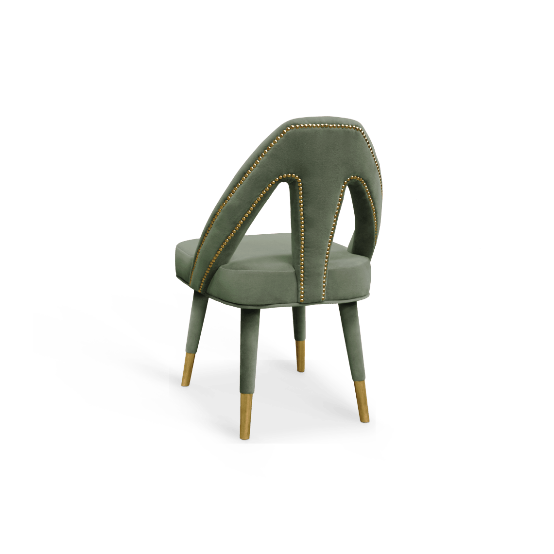 Caron Dining Chair Green Cotton Velvet