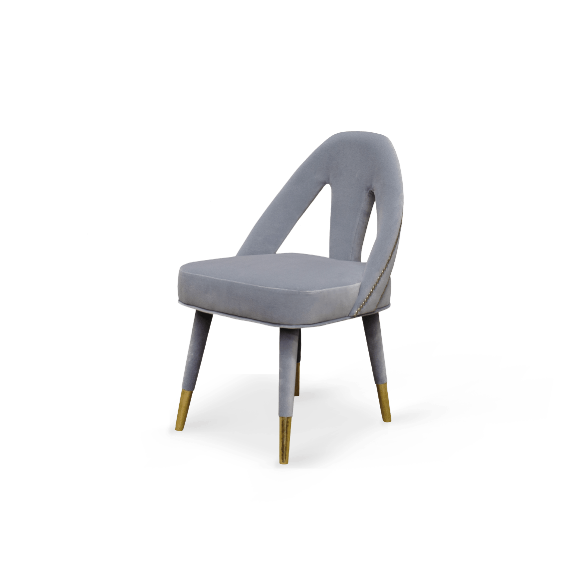 Caron Dining Chair Grey Cotton Velvet