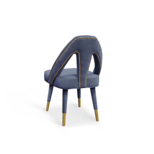 Caron Dining Chair Blue Cotton Velvet