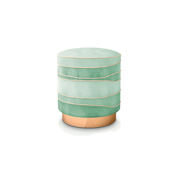 Charisse Mid-Century Modern Stool in green and neo-mint cotton velvet