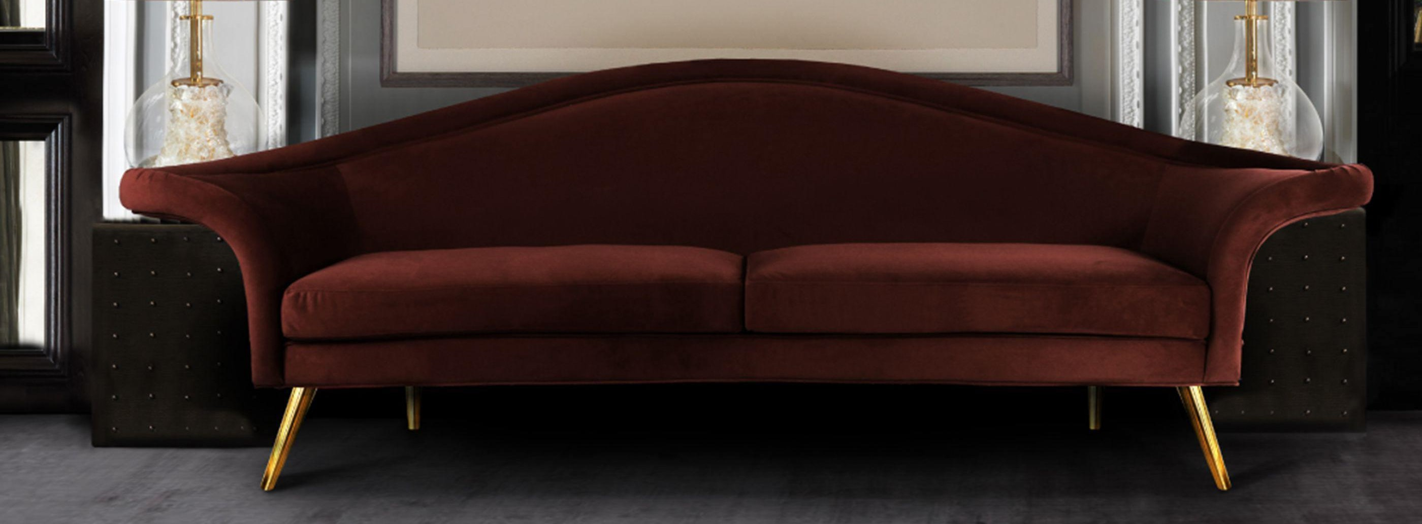 Dorothy Mid-Century Modern Sofa in cherry red cotton velvet