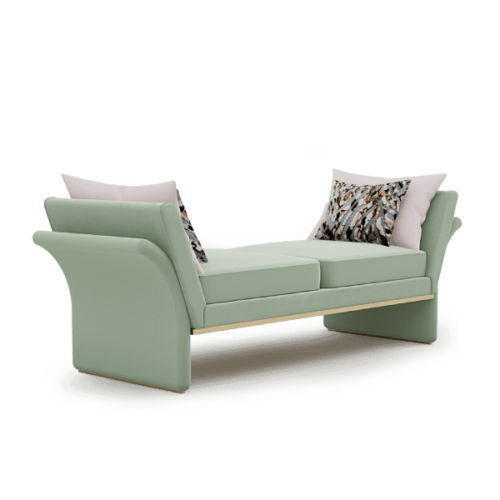 Janet Mid-Century Modern Bench in green cotton velvet