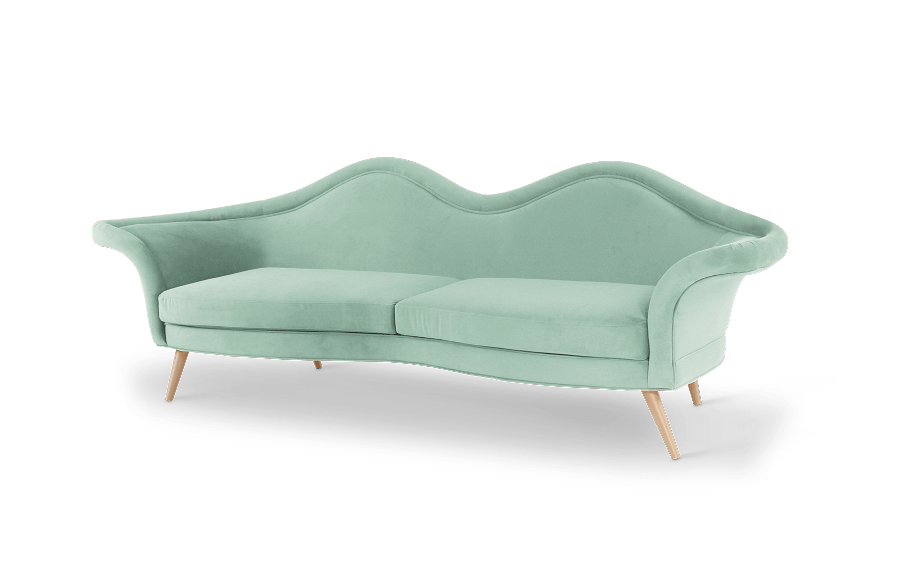 Jeane Mid-Century Modern Sofa in neo mint cotton velvet