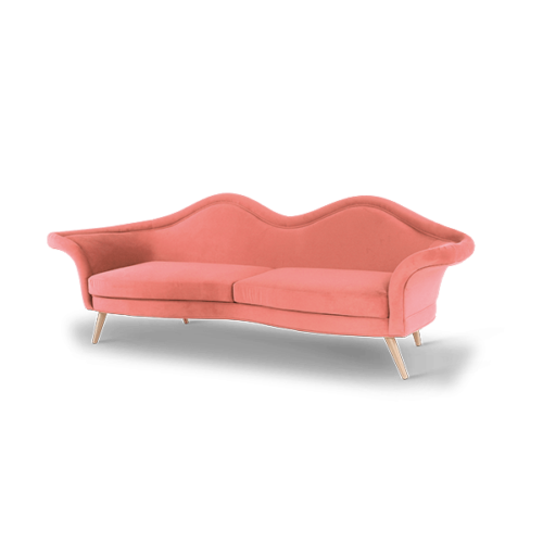 Jeane Mid-Century Modern Sofa in living coral cotton velvet