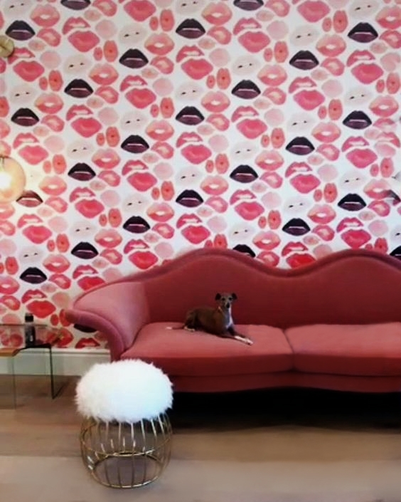 Jeane Sofa and Andy Stool in Kylie Jenner Glam Room by Martyn Lawrence Bullard