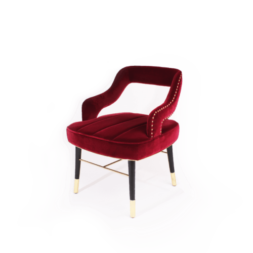 Kelly Mid-Century Modern Dining Chair in red cotton velvet
