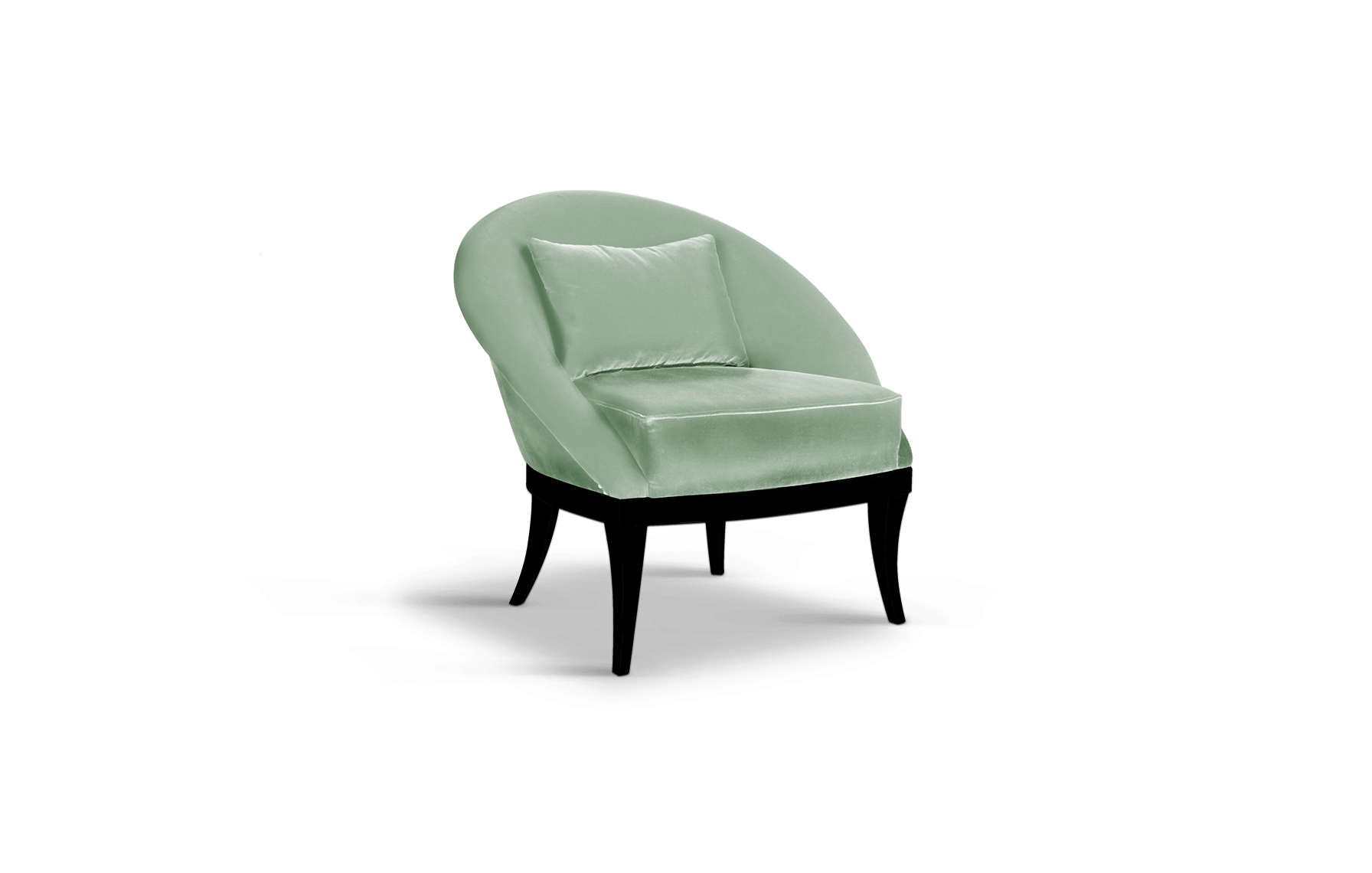Kim Mid-Century Modern Armchair in neo mint cotton velvet