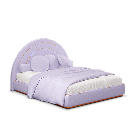 Lisa Mid-century Modern Bed in royal lilac cotton velvet