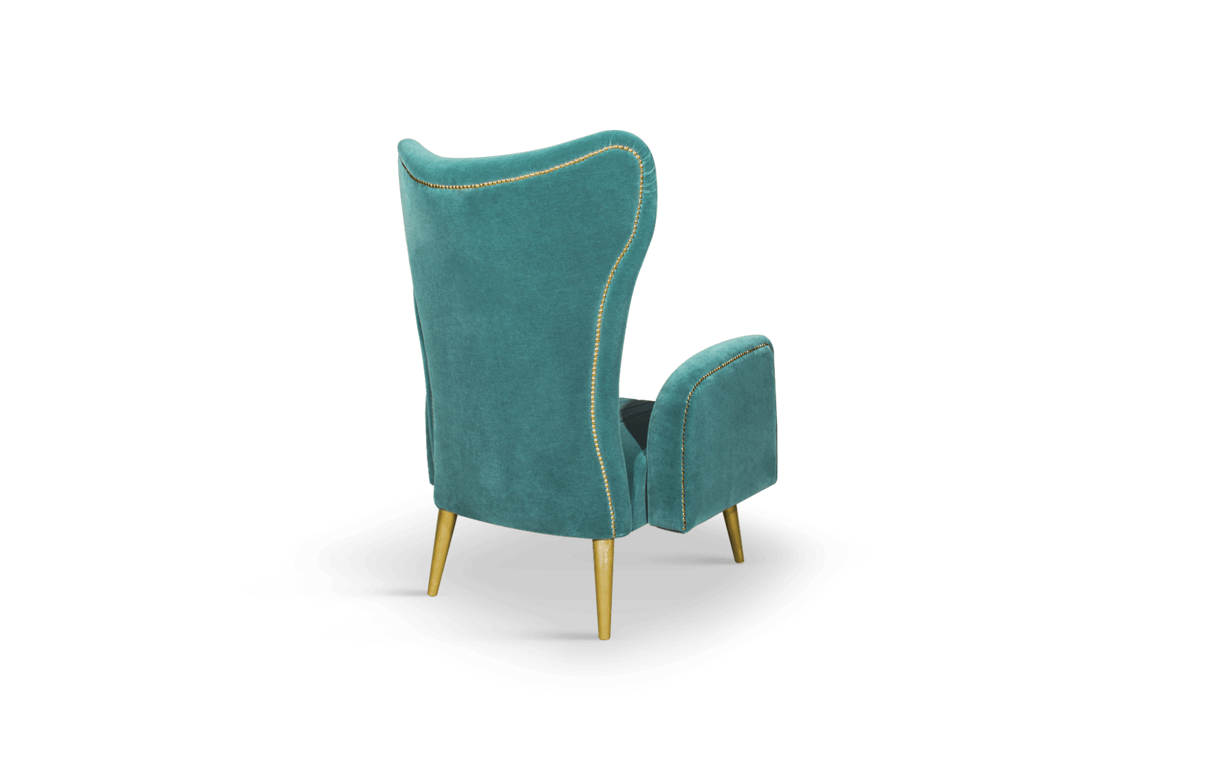 Loren Mid-Century Modern Armchair in green cotton velvet