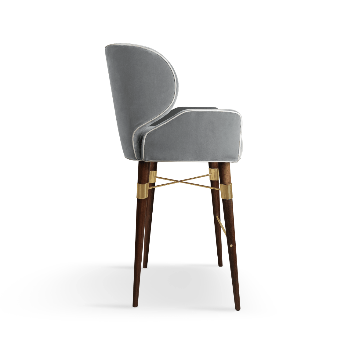 Louis I Bar Chair in Grey Cotton Velvet