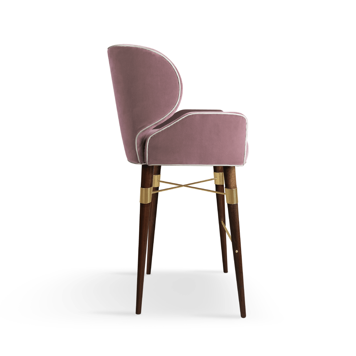 Louis I Bar Chair in Cotton Velvet