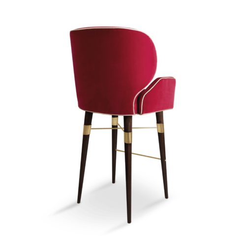 Louis I Bar Chair in Pink Cotton Velvet