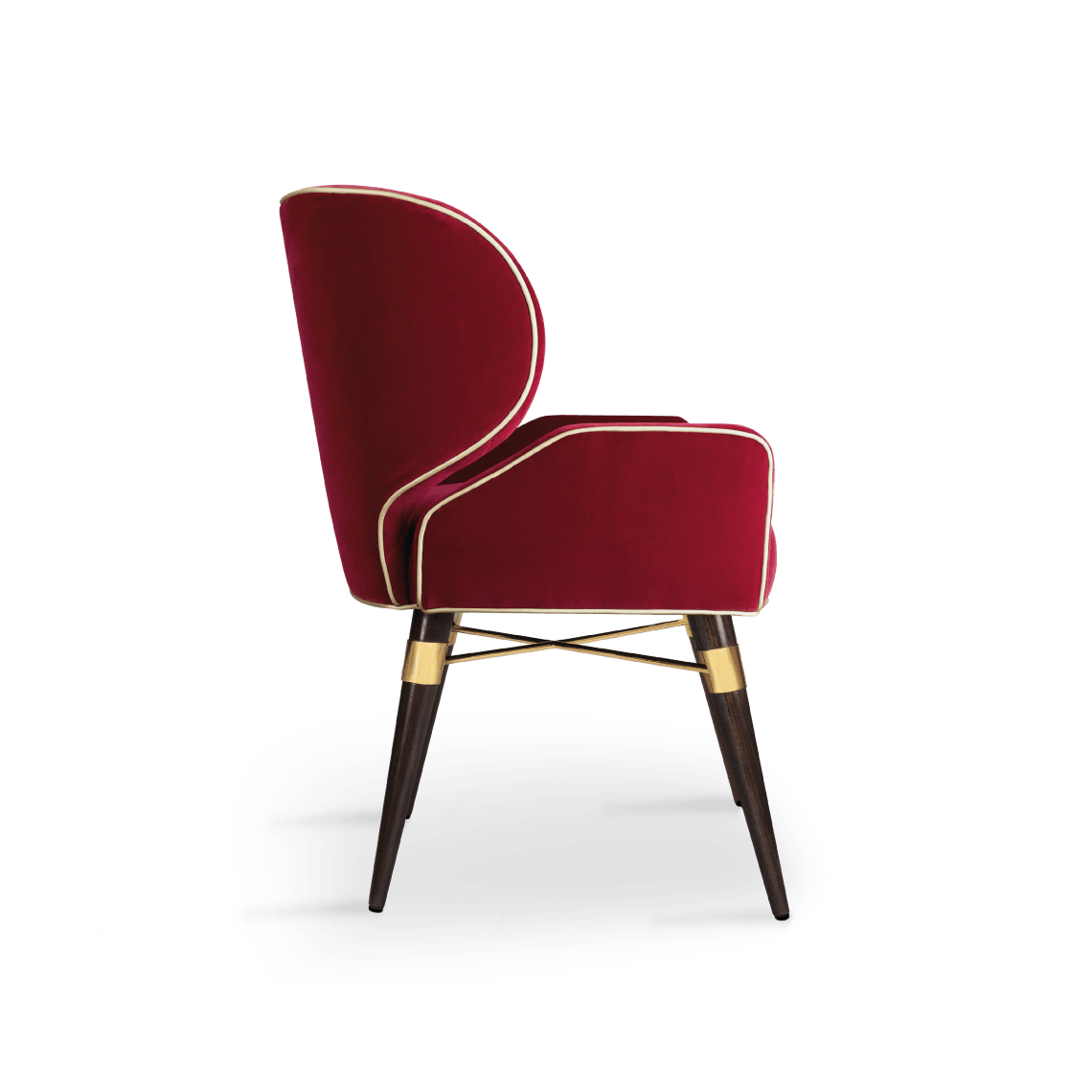 Louis I Dining Chair in red cotton velvet