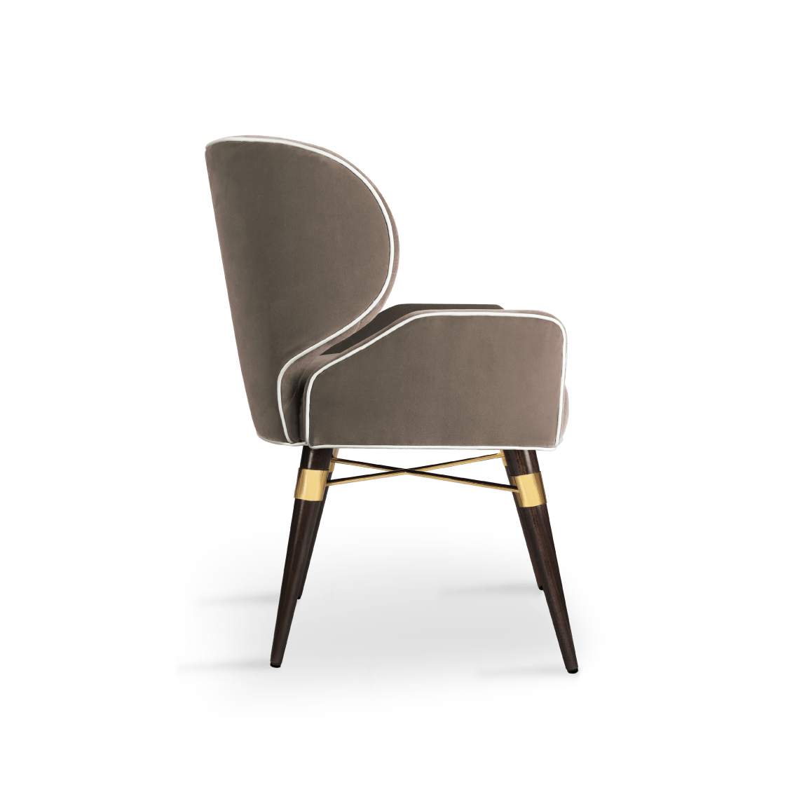 Louis I Dining Chair in grey cotton velvet