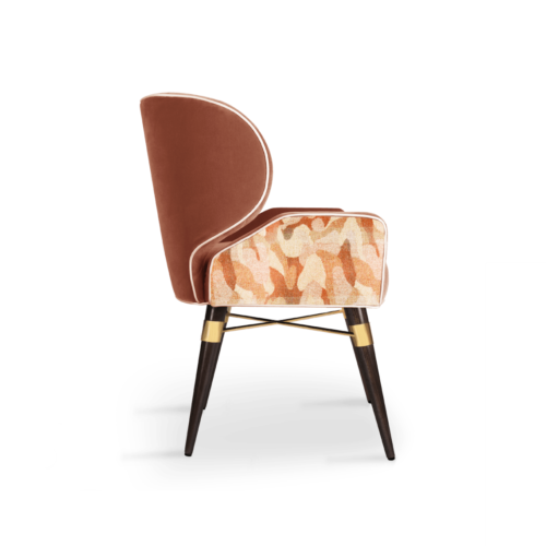 Louis I Dining Chair in orange cotton velvet