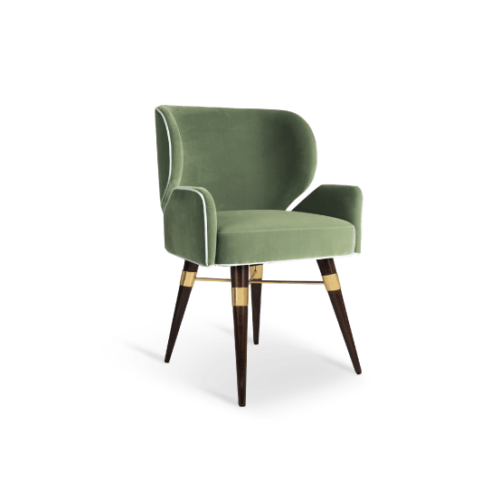 Louis I Dining Chair in Green cotton velvet