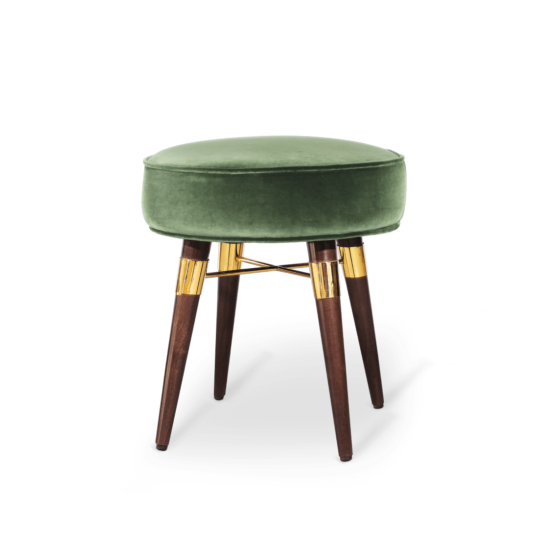 Louis Stool in green cotton velvet