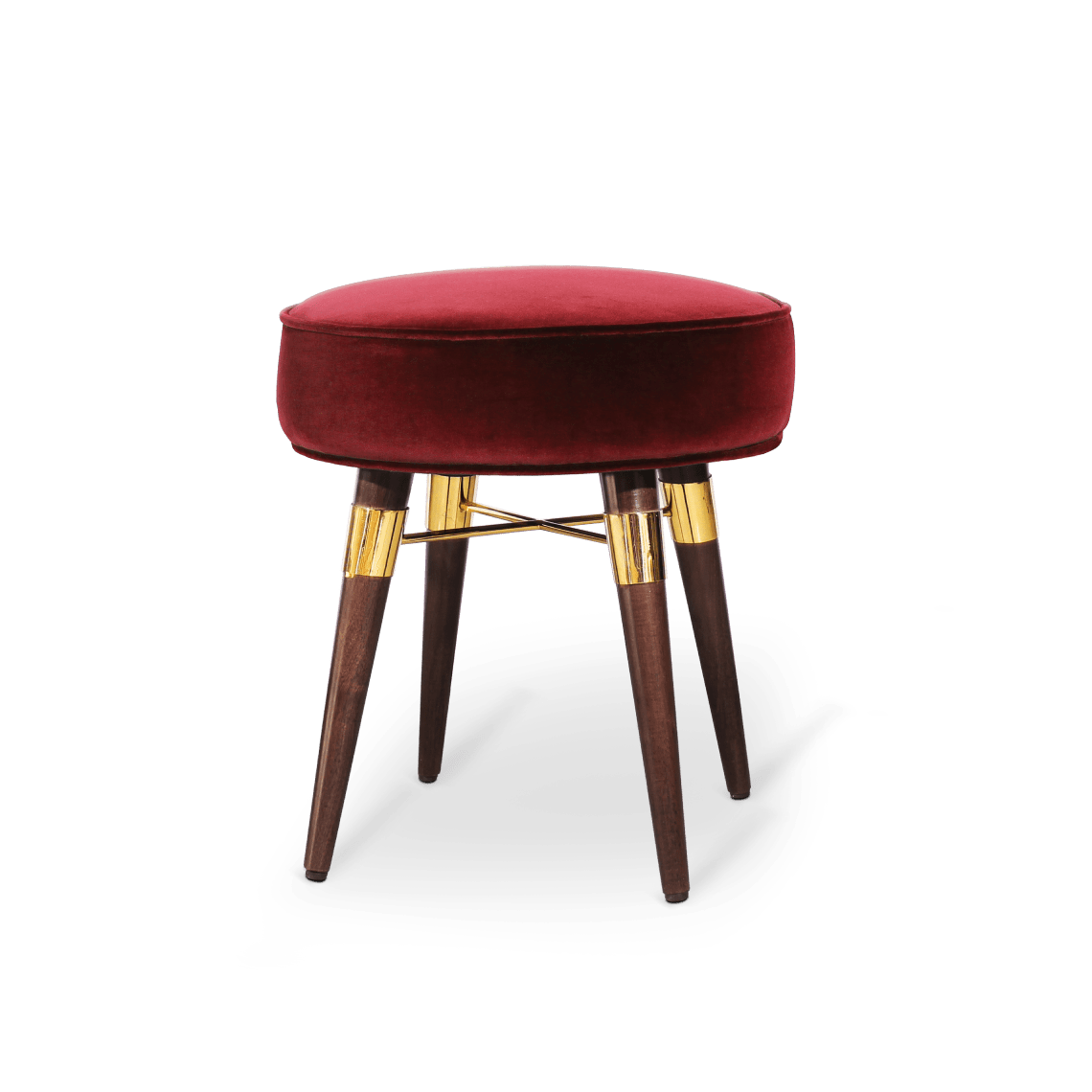 Louis Stool in red cotton velvet
