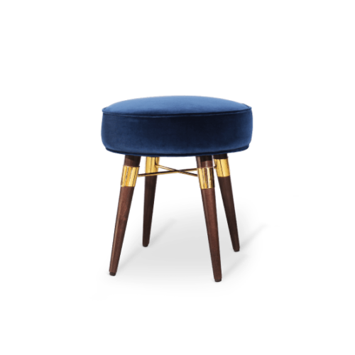 Louis Stool in blue cotton velvet
