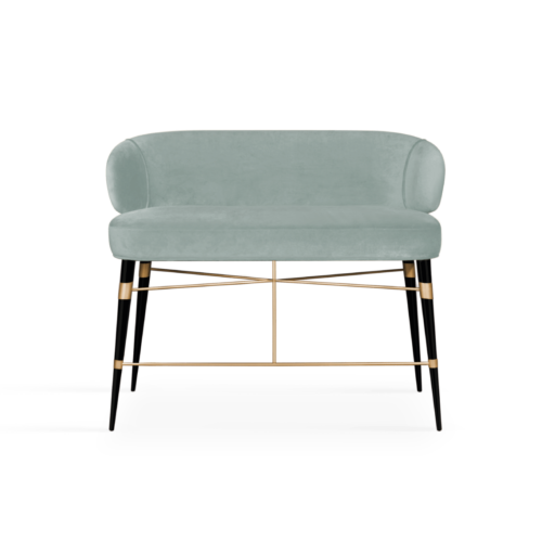 Louis Mid-Century Modern Twin Bar Chair in Blue cotton velvet