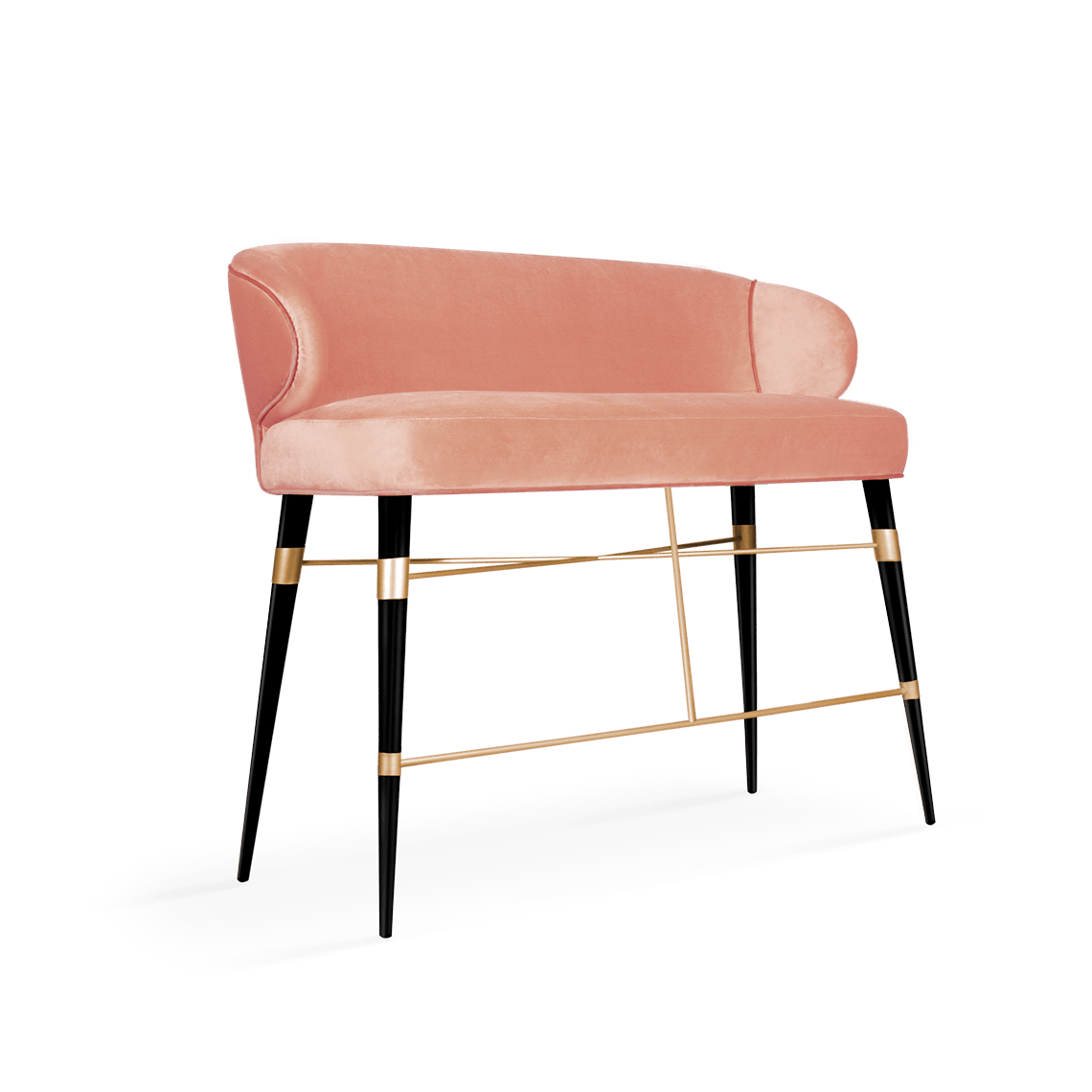 Louis Mid-Century Modern Twin Bar Chair in coral cotton velvet