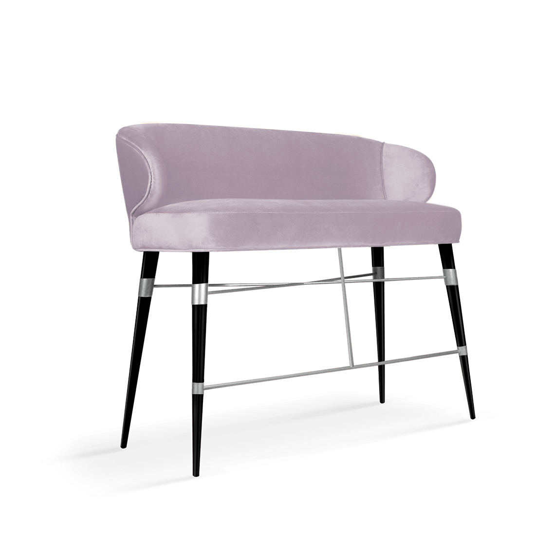 Louis Mid-Century Modern Twin Bar Chair in cassis cotton velvet