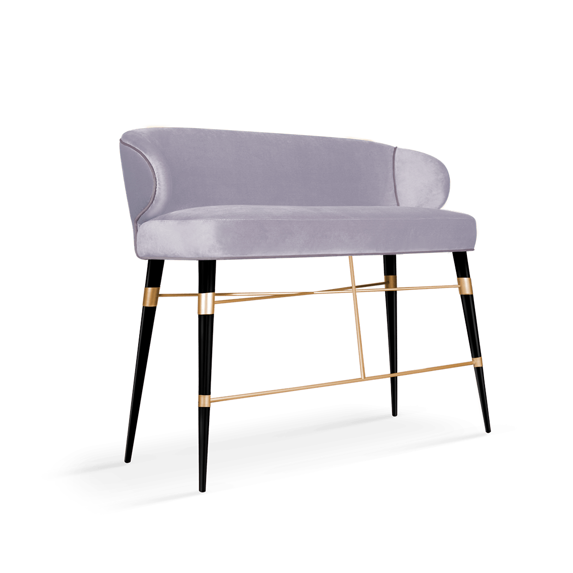 Louis Mid-Century Modern Twin Bar Chair in lavender cotton velvet