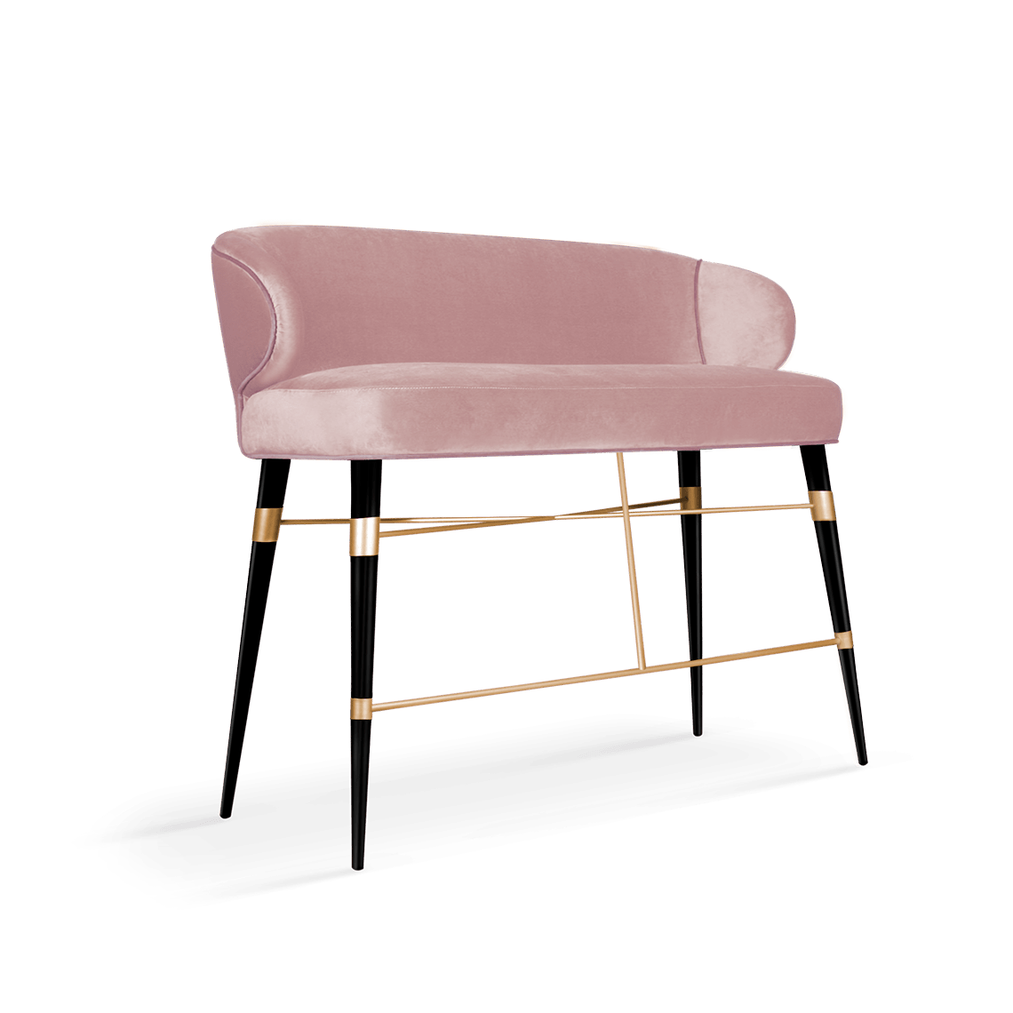 Louis Mid-Century Modern Twin Bar Chair in pink cotton velvet
