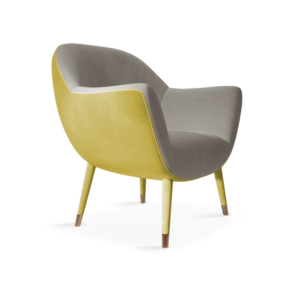 Lucy Mid-Century Modern Armchair in illuminating and ultimate gray cotton velvet
