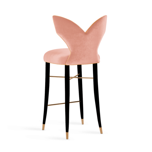 Luna Mid-Century Modern Bar Chair in pink velvet