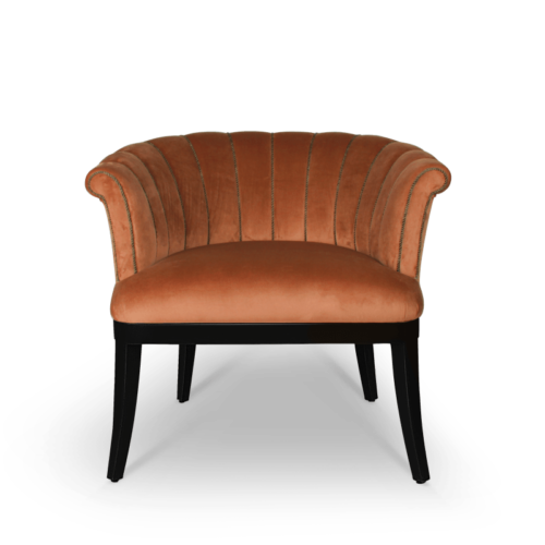 Mary Mid-Century Armchair in cotton velvet