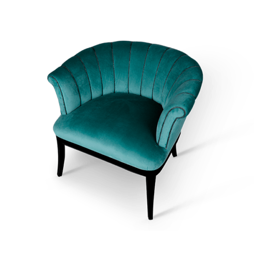 Mary Mid-Century Armchair in blue cotton velvet