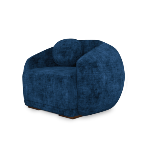 Peggy Armchair in blue cotton velvet