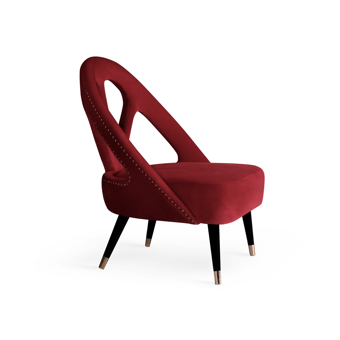 Scarlet Mid-Century Modern Armchair in red cotton velvet