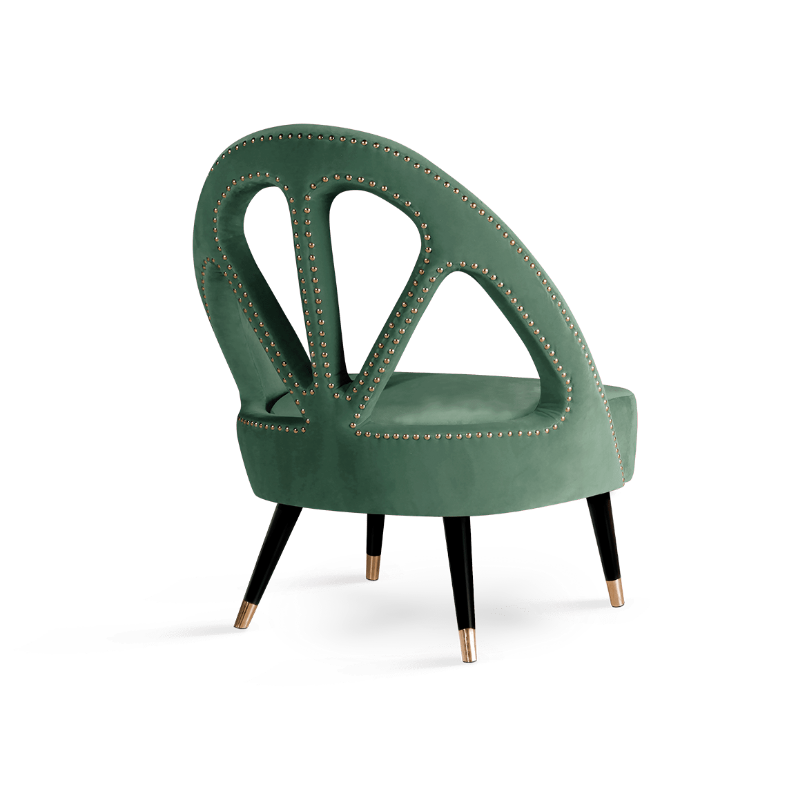 Scarlet Mid-Century Modern Armchair in green cotton velvet