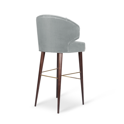Tippi Mid-Century Bar Chair in blue cotton velvet
