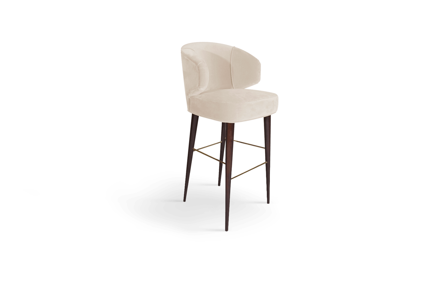 Tippi Mid-Century Modern Bar Chair in white cotton velvet