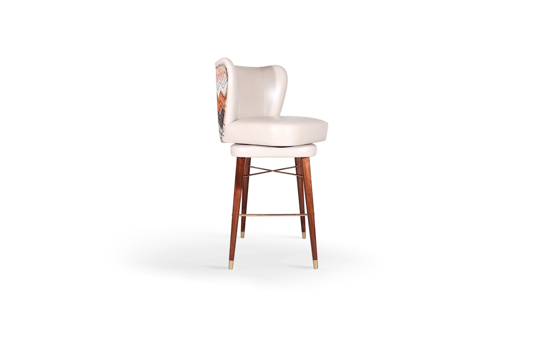 Visconti Mid-Century Modern Bar Chair in white, red, pink and grey cotton velvet
