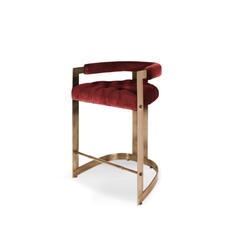 Winfrey Bar Chair in Red Cotton Velvel and Brass